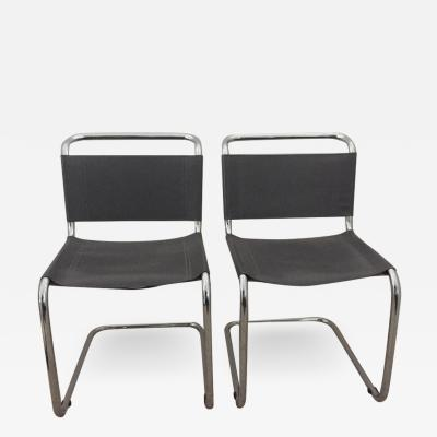 Mart Stam Mart Stam Pair of Tubular Chrome and Grey Leather Chairs