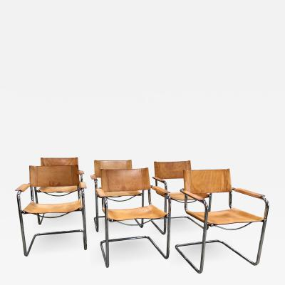 Mart Stam Mart Stam Six Italian Leather Armchairs 1950s