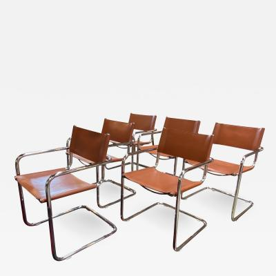 Mart Stam Pair of 6 Mart Stam Italian Leather Armchairs 1950s