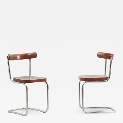 Mart Stam Pair of Chairs by Mart Stam for M cke Melder Under License from Thonet 1930s