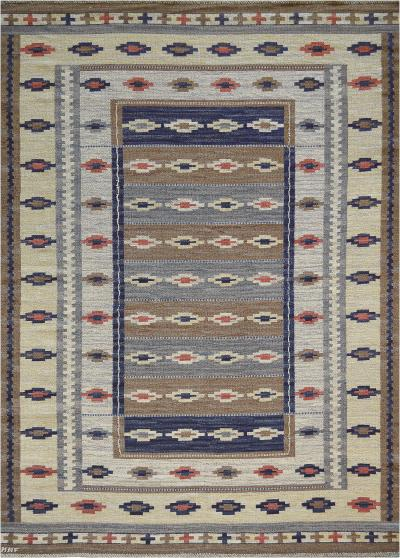 Marta Maas Fjetterstrom Early 1900s Swedish Signed Handwoven Wool Flatweave Rug