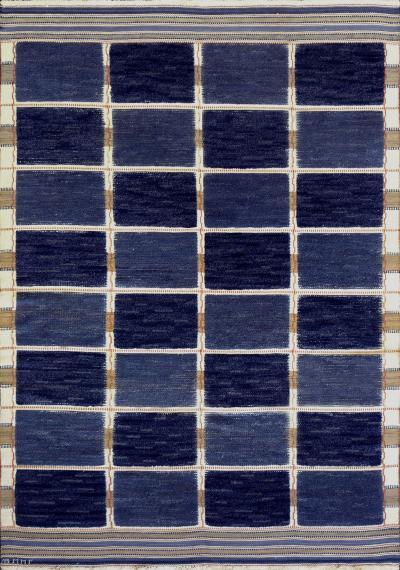 Marta Maas Fjetterstrom Mid 20th Century Handwoven Signed Swedish Wool Rug