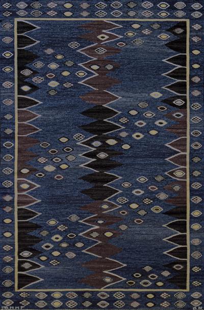 Marta Maas Fjetterstrom Signed Mid Century Wool Handwoven Swedish Rug