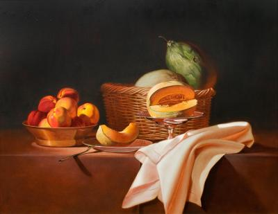 Martha Mayer Erlebacher Still Life with Cut Cantaloupe