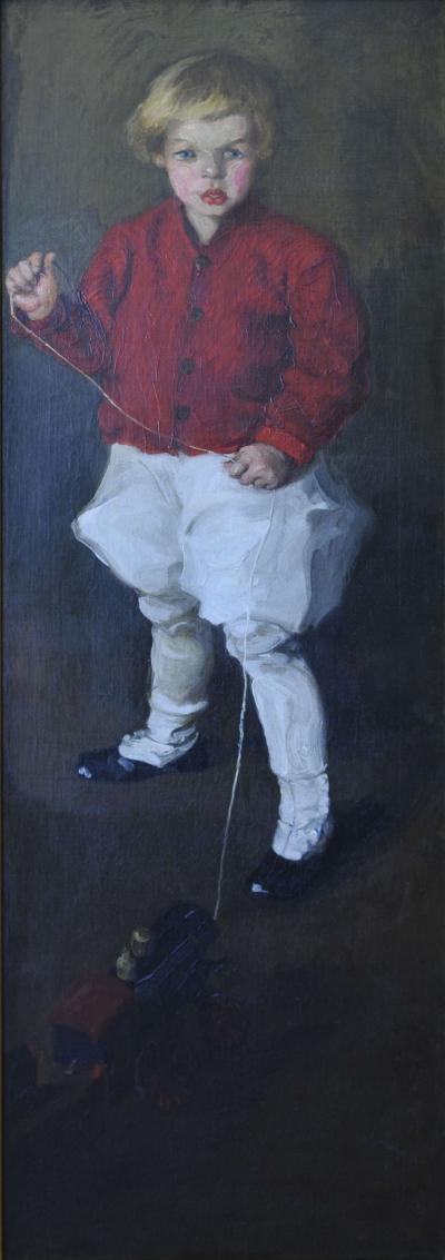 Martha Walter Portrait of Young Boy His Toy Train