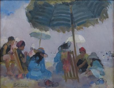 Martha Walter Under the Large Striped Umbrella on a Foggy Day