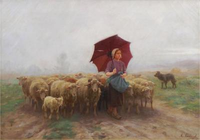 Martin Coulaud Leading Her Flock French Antique Barbizon Landscape Painting by Martin Coulaud