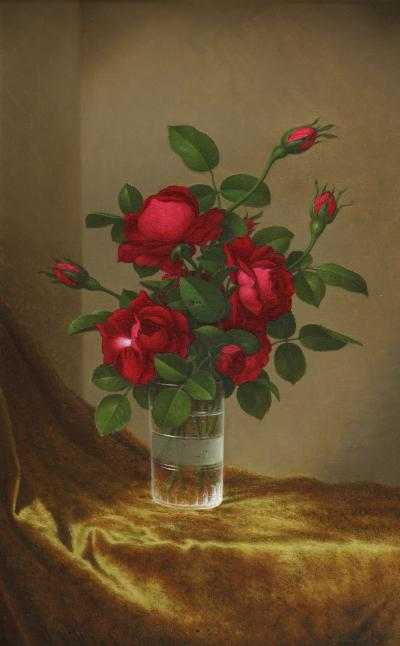 Martin Johnson Heade Cluster of Roses in a Glass