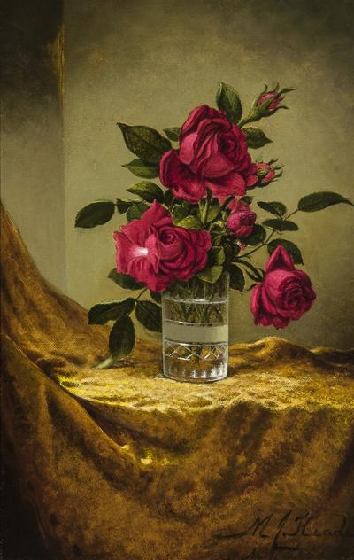 Martin Johnson Heade Glasses of Roses on a Gold Cloth