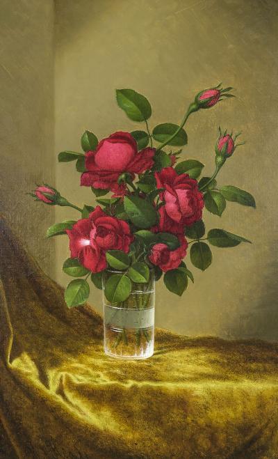 Martin Johnson Heade Still Life of Red Roses in a Glass