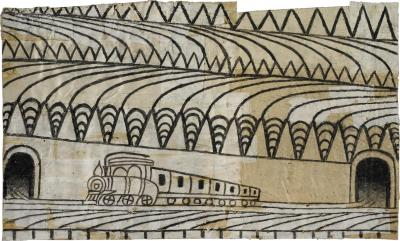 Martin Ramirez Untitled Triangle Landscape with Train