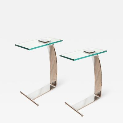 Marty Smith PAIR OF CHROME CANTILEVERED SIDE TABLES