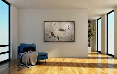 Marvelous Fossil Fish Mural on a Dark Limestone Matrix
