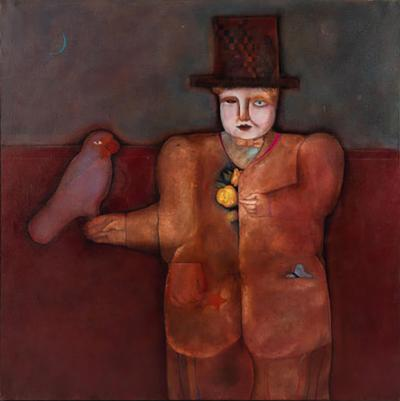 Mary Spain Magic Man Oil on Canvas by Mary Spain