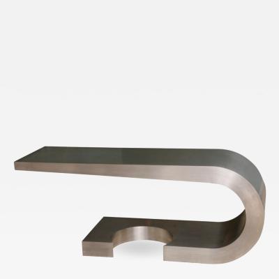 Marzio Cecchi A Rare Marzio Cecchi Stainless Steel Desk Console