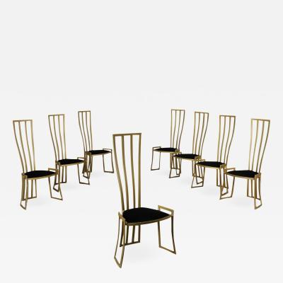 Marzio Cecchi Eight Chairs Marzio Cecchi Enamelled Metal Foam Velvet Italy 1980s
