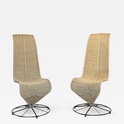Marzio Cecchi Marzio Cecchi 1970 Italian Pair of Black Lacquered and Beige Wicker Rope Chairs