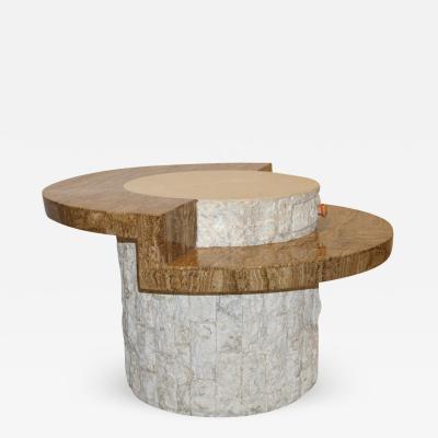 Marzio Cecchi Marzio Cecchi 1970s Italian Vintage White and Ochre Stone Round Side Sofa Table