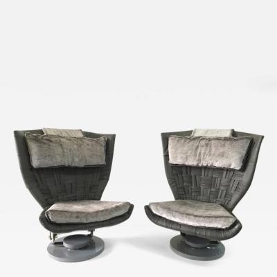 Marzio Cecchi Marzio Cecchi Pair of Grey Woven Leather Swivel Chairs