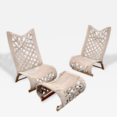 Marzio Cecchi Pair of Marzio Cecchi Lounge Chairs and Ottoman circa 1975