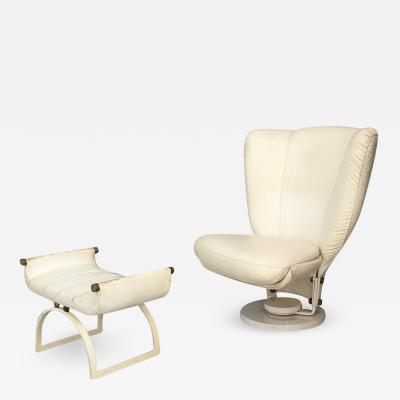 Marzio Cecchi Swivel Armchair by Marzio Cecchi with Pouf in Brass and White Leather from 1970
