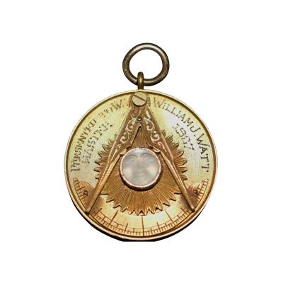 Masonic Gold Moon Stone Pendant Medal Award