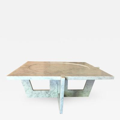 Massimo Mangiardi Italian White Carrara Marble Modern Coffee Table by Massimo Mangiardi