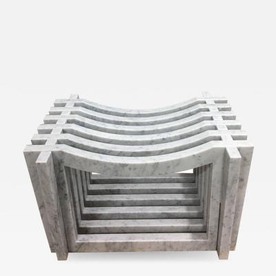 Massimo Mangiardi Two Italian White Carrara Marble Benches or Stools by Massimo Mangiardi