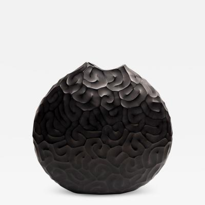 Massimo Micheluzzi Carved Black Vase