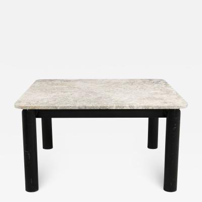 Massimo Papiri Travertine and Metal Italian Design Square Table By Massimo Papiri