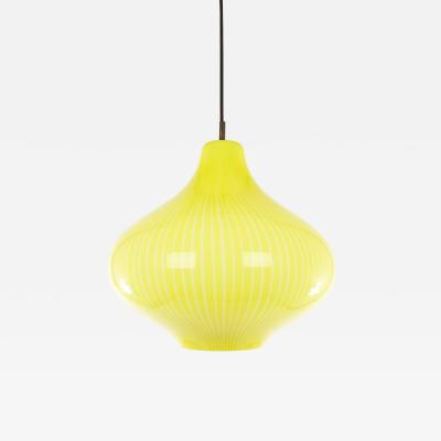Massimo Vignelli Hand blown yellow Cipolla Murano glass pendant by Massimo Vignelli for Venini