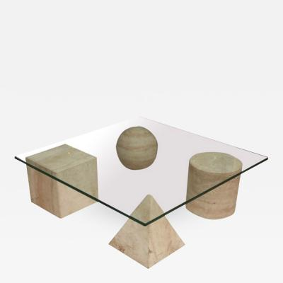 Massimo Vignelli Italian Modern Travertine Marble and Glass Top Low Table