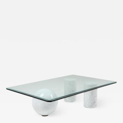 Massimo Vignelli Italian White Marble Coffee Table by Massimo Vignelli 1970s