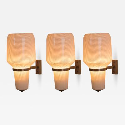 Massimo Vignelli Set of Three Wall Lights by Massimo Vignelli for Venini