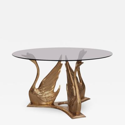 Massive Brass Coffee or Side Table with Swans