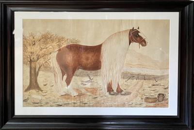 Massive British Watercolor of a Barge Horse Named Bob Signed M N Carr