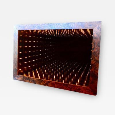 Massive Burl Wood Rectangular Infinity Mirror by Merit