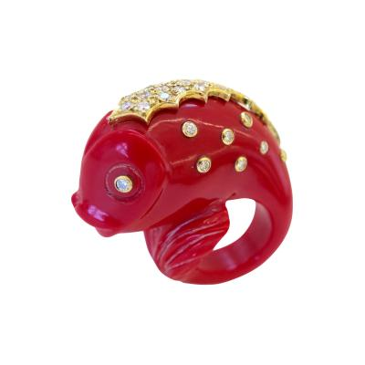 Massive Carved Plastic and Diamond Fish Ring Circa 1980