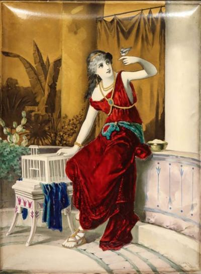 Massive French Enameled Porcelain Plaque After Diana Coomans circa 1880