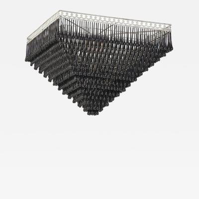 Massive Pyramid Form Black Murano Glass Chandelier