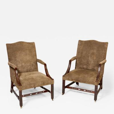 Matched Pair of Georgian Gainsborough Chairs