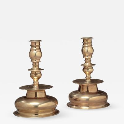 Matched Pair of William and Mary Dome Base Bell Metal Candlesticks