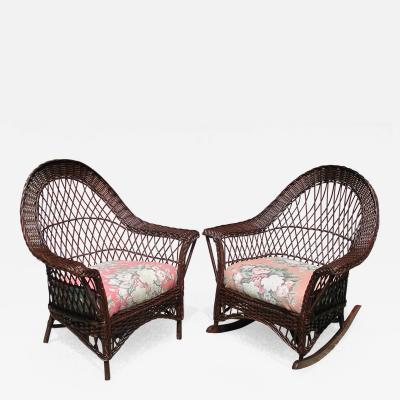 Matching Pair Bar Harbor Wicker Chair Rocker