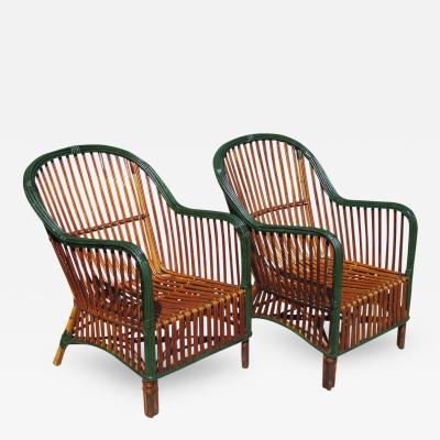 Matching Pair Stick Wicker Armchairs