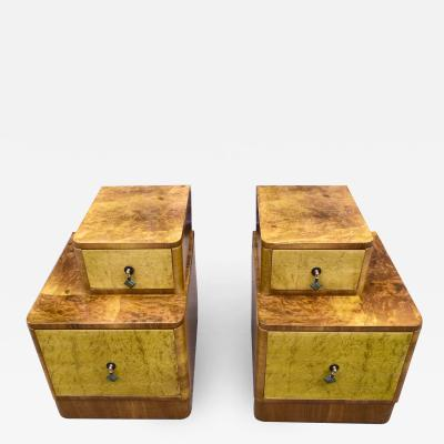 Matching Pair of Art Deco Stepped Bedside Cabinets Circa 1930s