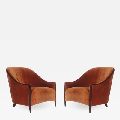 Matching Pair of Mid Century Velvet Bergere Lounge Chairs in Art Deco Form