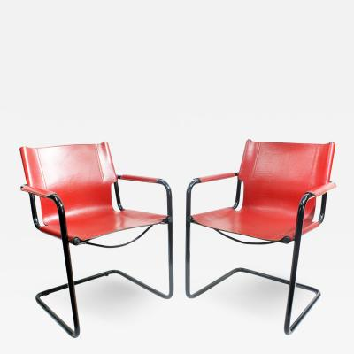 Mateo Grassi Pair of Cantilever Visitor Side Chairs Signed Matteo Grassi Italy 1970s