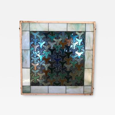 Mathias Goeritz Mathias Goeritz Geometric Style Stained Glass Window Panel Sea of Color 1960s