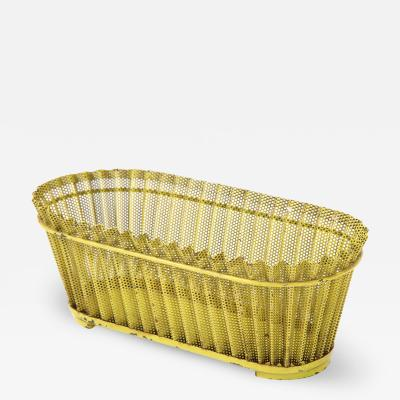 Mathieu Mat got Mathieu Mat got Planter Perforated Metal Yellow Lacquer France c 1940 50