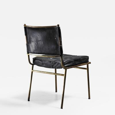 Mathieu Mat got Mathieu Mat got Rare Chair with Brass Frame and Leather Cushions France